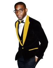 Yellow Peak Lapel Black Tuxedo Two Button Two Toned