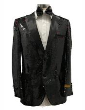Mens Two Button Black Peak Lapel