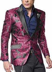 breasted peak lapel paisley pattern men's coat