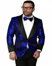 Single Breasted Shawl Label Suit Royal Blue Suit For