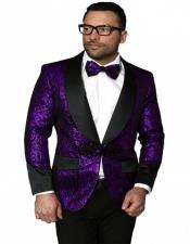 Single Breasted Shawl Label Suit Purple