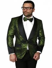 Single Breasted Shawl Label Suit for Men Olive Green