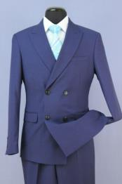 French Blue 4 Button Double Breasted Slim Fit Suit