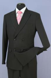 Black 4 Button Double Breasted Slim Fit Suit New