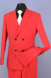 Red 4 Button Double Breasted Slim Fit Suit New