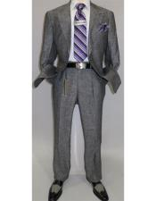 Summer Linen Suit Single Breasted 2 Button Suit Charcoal