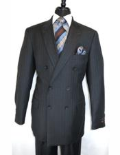 Diamond Charcoal Double Breasted 100% Wool Suit