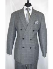 King 100% Wool Double Breasted Black Suit