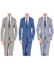 Slim Fit Suits Plaid ~ Window Pane Suits Indigo