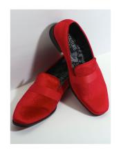 Slip On Red Couture Tuxedo Velvet Fabric Shoes