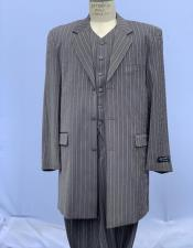 Bold Chalk Stripe Grey Pinstripe Zoot Suit For sale