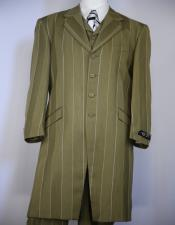 Olive Green Stripe ~ Pinstripe Vested Zoot Suit For