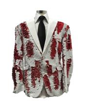 White ~ Red Two Button Single Breasted Suit
