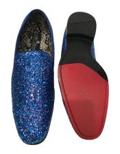 Slip On Navy Blue Shiny Fashionable Loafer Glitter ~