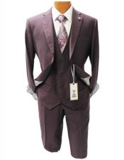 Mens Burgundy Notch Lapel Suit Mordern