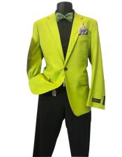 Lime Green Mens Solid Sports Coats