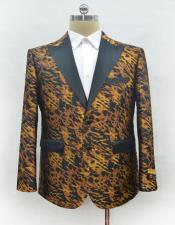 Mens Fashion Ostrich looking Leopard Suit