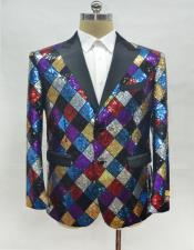 Mens Fashion Rainbow Suit