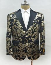 Mens Fashion Black-Gold Suit