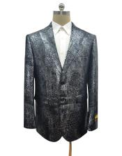 Black Alligator Python Snakeskin Print Snake Jacket For Blazer