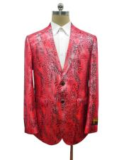 notch lapel python leather Ostrich looking red sport jacket