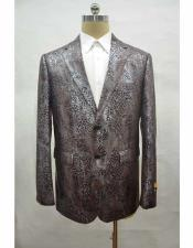 Men's brown leather printed notch lapel