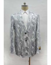 button chest pocket leather printed white blazer