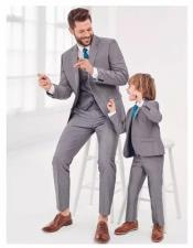 ~ Dad And Son Matching Suits Light Grey