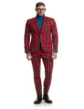 breasted 2 button 2 flap pocket red tartan suit