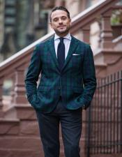 Tartan Plaid Window Pane Suit Olive Green And Blue