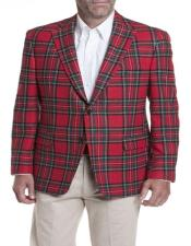 Red Tartan ~ Plaid ~ Windowpane Mens Tartan Blazer
