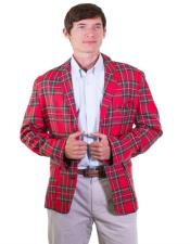 Red Tartan ~ Plaid ~ Windowpane Single Breasted Mens