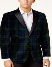Tartan Plaid Window Pane Suit for Men Olive Green