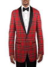 Red Tartan Plaid Tuxedo with Black