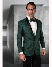 Mens Paisley Olive Green Tuxedo And