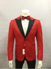 2 Button Red and Black Lapel