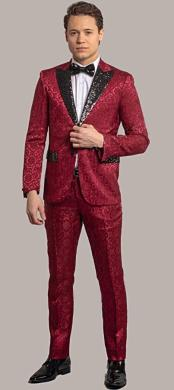 Giovanni Testi Red Tuxedo Suit Jacket