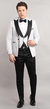 Oval Pattern One Button Tuxedo Suit Perfect For Wedding