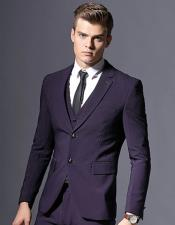 Dark Purple Slim Fit Formal Style Business Suit