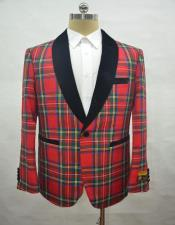 Mens Single Breasted Tartan-Red Blazer