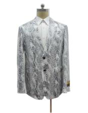Two Button Exotic White Single Breasted Blazer