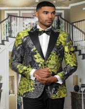 Mens Gold Floral Fitted Tuxedo Jacket