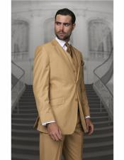 ~ Gold Color Wool Suit Side Vented Regular Fit