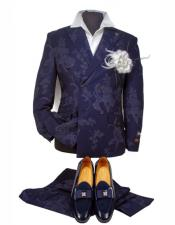 Mens Navy Blue Suit Double Breasted