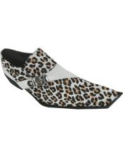 Mens Leopard Leather Monkstrap Square Toe