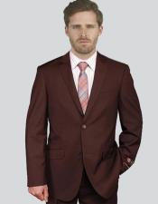 Single Breasted Notch Lapel Solid Brown Suit