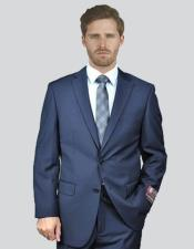 Single Breasted Notch Lapel Solid Navy Suit