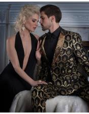 Seamless Damask Pattern Gold Suit
