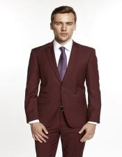 Single Breasted Notch Lapel Solid Burgundy Suit