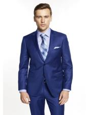 Single Breasted Notch Lapel Solid Blue Suit